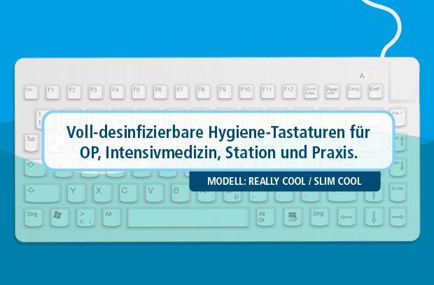 Desinfizierbare Tastatur zur Reinigung in Flüssigkeit eintauchen und abspülen